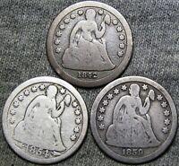 1842-O 1854-O 1859-O Seated Liberty Dime Silver ---- Type Coin Lot ---- #K516