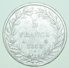 More details for scarce france, louis philippe i 5 francs, 1830-a paris mint silver coin vf