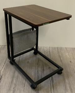 Beistelltisch Laptoptisch Notebook Tisch Metall schwarz Holz Rollen R2/A4--