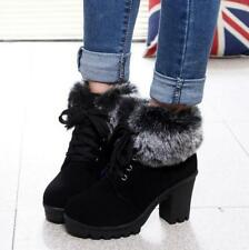 Womens Lace Up Block High Heels Platform Suede Winter Fur Shoes Ankle Boots size