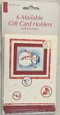 Mailable Gift Card Holders Snowman Verse Stationery 4X5.5 w Envelopes Lot of 6