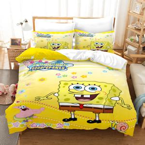 3D SpongeBob Duvet Cover Bedding Set Comforter Quilt Cover with Pillowcase 8010