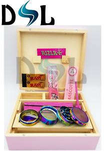 Pink Wooden Rolling Box Paper Mascotte Slim NO1 Metal Grinder Rizla Juicy Raw