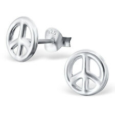 925 Sterling Silver Peace Sign Kids Girls Women Stud Earrings Jewellery Gift