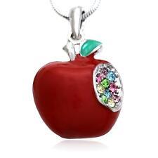 Red Teacher's Apple Fruit Pendant Nkeclace Rhinetones Enamel Fashion Jewelry a1