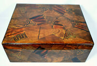 Stunning Large Antique Japanese Wooden Marquetry Box Red Lacquer Interior