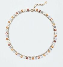 ANN TAYLOR LOFT MIXED CRYSTAL STATEMENT NECKLACE NWT GOLD