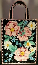 Plastic Canvas Needlepoint Completed Purse Tote Bag Rose Daisy Beach Lined