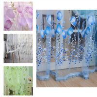 Sheer Voile Curtains Floral Pattern Window Panel Curtain Drapes Multi