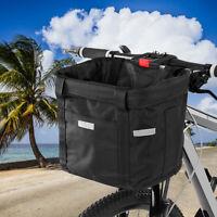 Front Bicycle Basket Folding Waterproof Handlebar Basket Pet Carrier Frame Bag