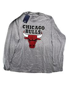 Chicago Bulls NBA Branded Primary Logo Gray Long Sleeve T-Shirt Men's Size Med