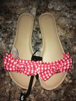 Time And Tru Women's Comfort Bed Gingham Print Sandals Size 9 10 11