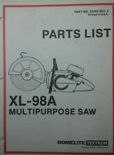Homelite XL-98A Gas Multi-Purpose Body Saw Parts Manual 8p Concrete Metal Cutter