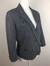 Carlisle Women's Black White Striped Cotton Jacket Coat , Size US 14