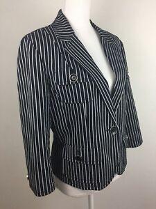 Carlisle Women's Black White Striped Cotton Jacket Coat , Size US 14 / UK 16