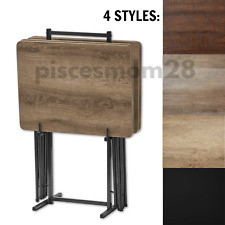 Modern TV Folding Table Set 5-Piece Modern Wood Snack Dinner Tray w/ Stand