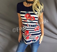 Floral Print Color Block Navy & Ivory Striped Short Sleeve Tunic Top Tee Shirt