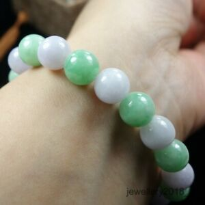 Certified Green+Lavender 100% Natural A Jadeite Jade beads Bracelet 手链