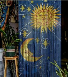 Sun and Moon - Bamboo Beaded Curtain for Doorway Window Hanging Room Dividers