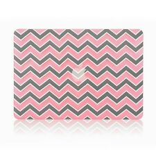 """Pink Chevron with Gray Insert Matte Hard Case Cover for Macbook WHITE 13"""" A1342"""