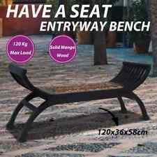 vidaXL Bench 120cm Dark Brown Abaca Living Room Hallway Seat Foot Stool Chair