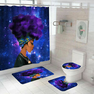 African Woman Shower Curtain Bathroom Rug Bath Mat Non-Slip Toilet Lid Cover f41