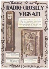 PUBBLICITA' 1937 RADIO CROSLEY SUPER RETONDINA 8 VALVOLE VIGNATI LAVENO WATCHES