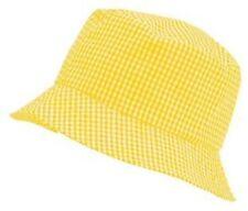 Unicol Children's Kids YELLOW Gingham School Bucket Sun Hat 56cm AGE 8-11