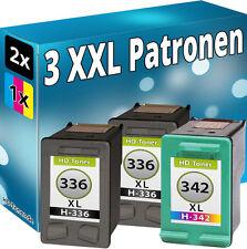 3x TINTE PATRONEN für HP336+342XL PhotoSmart 2575 C3100 C3180 DRUCKER PATRONE