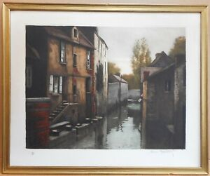 River Bievre in Paris. Etching by listed French artist Henri Tourday 1913
