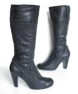 Ladies Moda in Pelle Black leather knee high-heeled boots Size UK 7 Exc Cond