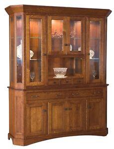 "Amish Arts & Crafts Hutch China Cabinet 4-Door Solid Wood Albany 68"""