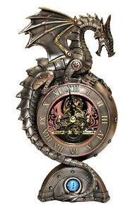 Steampunk Dragon Eye Bronze Finish Table Mechanical Clock