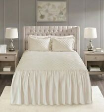 New Madison Park Cosette Faux Velvet Queen Bedspread Set Ivory Diamond Quilting