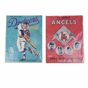 Lot Signed 1965 Los Angels Angels Yankees Score Book 1968 Dodgers Scorecard