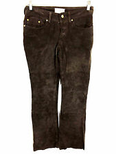 BB Dakota Pret A Porter Brown Leather Pants Button Fly Womens 5 / 6 (28 x 31)