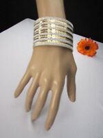 Women Gold Metal Cuff Fashion Bracelet Bling Silver Glitter Dressy Look Stripes
