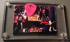Look Rare KISS live group J5 promo card / Ace red on pink guitar pick display!!!