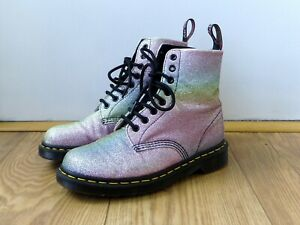 DR MARTENS - Sparkling Synthetic Rainbow Unicorn 16 Hole Lace up Boots UK6  EU39