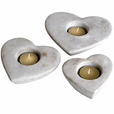 SET OF 3 HEART TEA LIGHT HOLDERS - STONE CONSTRUCTION.