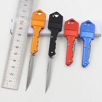 """Portable Key Knife Folding Shaped Pocket Utility Blade Mini Peeler 4.9"""" Black T"""