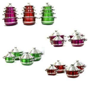 8pcs Cookware Set Pan Pot Non Stick Cookware Set16cm,18cm,20cm,22cmRED PINKGREEN