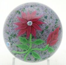 LARGE Beautiful BACCARAT Pink CLEMATIS & Bud FLOWER Art Glass PAPERWEIGHT