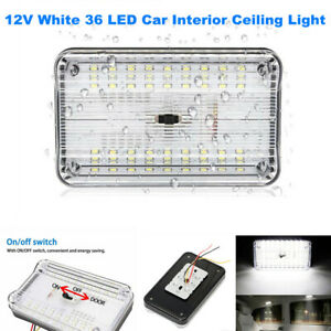DC12V White 36 LED Roof Reading Lamp Ceiling Interior RV Trunk Light With Switch