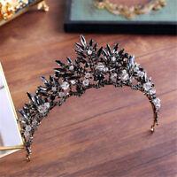 Gothic Barque Crown Black Crystals Wedding Tiara Bridal Headbands Vintage Gifts