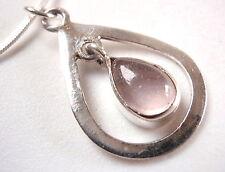 Rose Quartz Pendant Dangle Teardrop in Pear Shape Hoop 925 Sterling Silver New