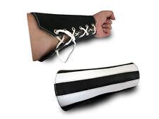 MEDIUM black double leather gauntlet white stripes handcuff wrist arm band new