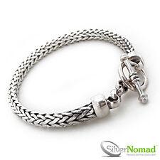 New 925 Sterling Silver Nomad Men's Snake Weave Link+&+Chain Bracelet 8.5 Inch