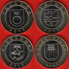 "Lithuania set of 4 coins: 2 litai 2012 ""Dedicated - Lithuanian resorts"" BiM. UNC"