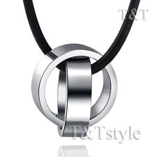 T&T Stainless Steel Two Lucky Ring Pendant Necklace Silver (NP174S)
